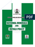 National Policy on Minerals Metal