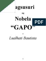 Pagsusuri Ng Nobela (Gapo) ni Lualhati Bautista