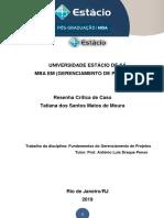 UNIVERSIDADE ESTÁCIO DE SÁ - RESENHA CRÍTICA FUNDAM GERENCIAMENTO DE PROJETOS.docx