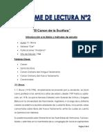Informe de lectura 2 (introduccion a la Biblia) EL CANON DE LAS ESCRITURAS.docx