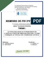 Automatisation Et Supervision De L'installation De Preparation De L'acide Citrique Au Niveau Du Complexe Cevital.pdf