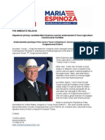 Texas Agriculture Commissioner Endorses Maria Espinoza for Congress