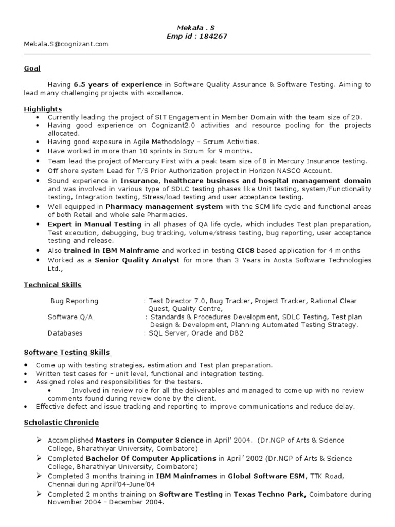 Resume for s mekala software testing 6 5 years software for Sample resume for software tester 2 years experience