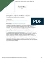 Inteligência artificial, medicina e médicos - 31_01_2020 - Opinião - Folha