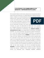 ACTA NOTARIAL DE REPRESENTANTE LEGAL