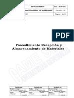 AL-P-001 Procedimiento Recepcion y Almacenamiento - REV 02