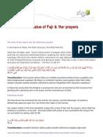 The Value of Fajr Asr Prayers