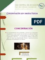 Concentración de metales por medios físicos
