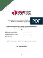 Análisis de sistemas de distribución de las empresas concesionarias