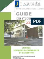 Guide des études 2010-2013 Licence Sciences Economiques et de Gestion