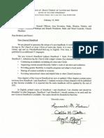 First Presidency Letter New Handbook 2020
