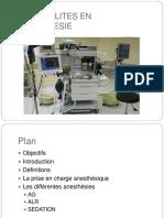 Generalites en Anesthesie (Cours)