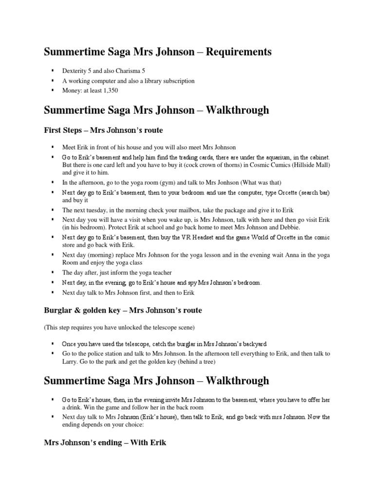 Summertime Saga Mrs Johnson Guide