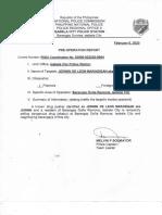 Pre-Operation Report
