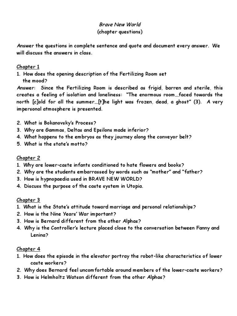 Brave New World Chapter Questions | Psychology & Cognitive