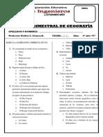 EXAMEN BIMESTRAL GEOGRAFIA 5C nov