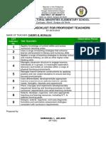 Indicator Checklist
