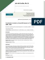 Crecimiento económico y desarrollo humano en Colombia (2000 – 2010) _ Marrugo Arnedo _ Revista de Economía del Caribe