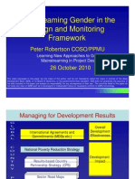 Mainstreaming Gender in the Design and Monitoring Framework