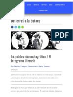 Campos Ocampo, Melvin. 2015 b. 'La palabra cinematográfica  El fotograma literario'