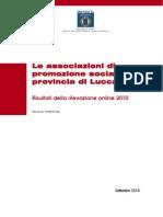 Report Statistico Associazioni di Promozione Sociale della provincia di Lucca - 2010