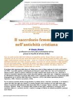 TropeaMagazine - Il sacerdozio femminile nell'antichità cristiana di Giorgio Otranto