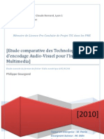 Philippe Gourgand - Etude comparative des Technologies d'encodage Audio-Visuel pour l'Internet et le Multimedia