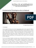 Fundamentos Ontológicos da Lei Natural - Gabriel Pereira Gusso