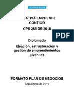 FORMATO PLAN DE NEGOCIOS ENGATIVA EMPRENDE CONTIGO DETALLE HASTA PUNTO 3 COMO DESARROLLAR UNA OPORTUNIDAD DE MERCADO