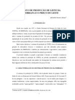 CUSTO DE PRODUÇÃO DE LEITE DA EMBRAPA E O PREÇO DO LEITE