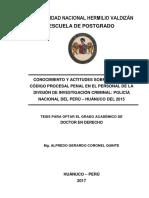 TD - 2017 Conocimiento y actitudes sobre el nuevo codigo procesal penal en el personal de la division de investigacion criminal PNP