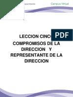 LECCIÓN CINCO COMPROMISOS DE LA DIRECCION Y REPRESENTANTE DE LA DIRECC.