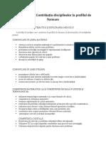 contributia disciplinelor la profilul de formare