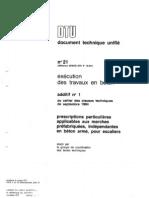Additif n° 1 au DTU 21 Prescriptions particulières aux marches préfabriquées, indépendantes en béton armé, pour escaliers