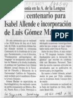 Medalla centenario para Isabel Allende e incorporación de Luis Gómez Macker