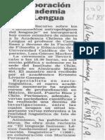 Incorporación en Academia de la Lengua