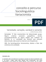 Sociolinguística Origens, conceito e percurso da Sociolinguística Variacionista