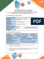 Guía de Actividades  y Rubrica  de Evaluación - Fase 1- Actividad Reconocimiento. Analizar información previa
