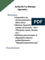 Instalación de Un Sistema Operativo