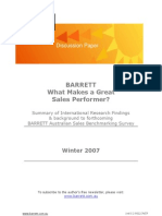 Barrett Research Summary and Bench Marking Survey on Top Sales Performers