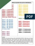 DAFTAR KODE NOMOR TELEPON SELULER DI INDONESIA.docx