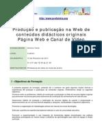 Acção de Formação Publicação na web
