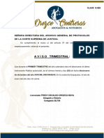 AVISO TRIMESTRAL IV TRIMESTRE FREDY