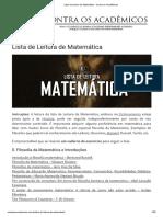 Lista de Leitura de Matemática