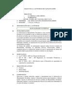 PLAN DE TRABAJO DE LA ACTIVIDAD DE CAPACITACIÓN