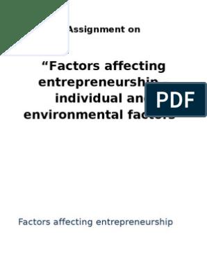 Factors Affecting Entrepreneurship | Entrepreneurship | Business