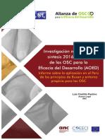 Investigación mundial de Síntesis 2016. Alianza de las OSC para la Eficacia del Desarrollo AOED.