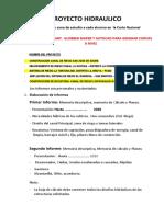 PROYECTO HIDRAULICO FECHAS EXAMEN Y T.E. 2020
