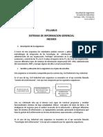 SYLLABUS SISTEMAS DE INFORMACION GERENCIAL