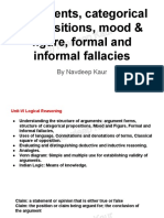 Arguments, categorical propositions, mood & figure, formal and informal fallacies by Navdeep Kaur